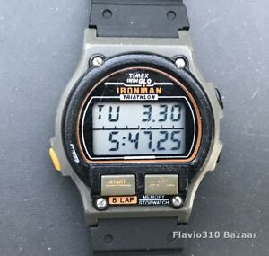 1990 TIMEX Ironman Triathlon 484 70 Indiglo 8 Lap Memory 37mm watch  New Battery