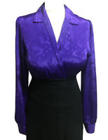 BRITISH Vtg 80s UK 10/12 Blouse Shirt Satin Jacquard Glossy Purple Top Mistress