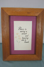 Wood Framed Calligraphy PIcture Purple Mat Peace Sunset Thank EPOC