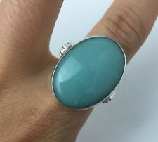 AQUA CHALCEDONY RING SIZE 7.75 STERLING SILVER
