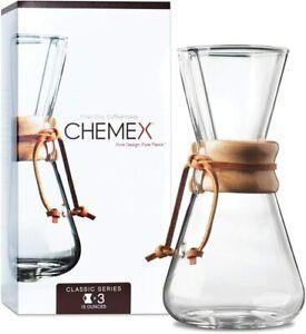 Chemex 3-Cup Classic Series Glass Coffeemaker Brand New