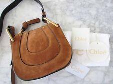 Chloe AUTH Hayley Nano Crossbody Brown Leather Caramel Suede Horseshoe