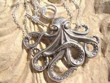 Double Chain Silver OCTOPUS Pendant Necklace .925 Sterling Silver ptd Brass
