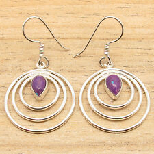 Turquoise Spiral Wire Designer Earrings 925 Silver Overlay Drop Purple Copper