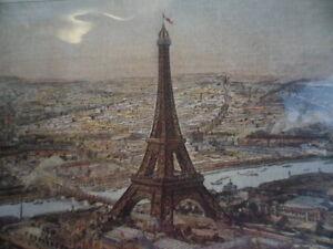 SMALL PRINT PAINTING LA TOUR EIFFEL EN 1889 OLD PARIS PICTURE EIFFEL TOWER