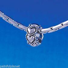 MINI BEADED HEARTS SPACER  Large Hole European Charm Bead  USA Seller