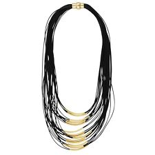 NEW Trendy Fierce Black Cord Gold Tone Tube Bead Boho Chic Multi Layer Necklace