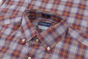 NWT Peter Millar Collection Medium Dress Shirt Blue Orange Brand New Egyptian Co