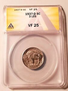 Key Date Circulated 1937-D 3 Leg Buffalo Nickel Graded by ANACS as a VF-25!