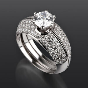 2.36 CARATS BANDS SET DIAMOND RING 18K WHITE GOLD VS D COLORLESS SIZE 5 6 7 8