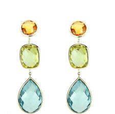 14K Yellow Gold Gemstone Earrings Lemon Topaz, Citrine And Blue Topaz