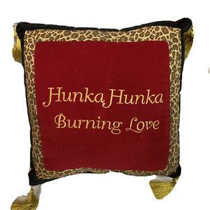 """Hunka Hunka Burning Love 8""""x8"""" Decorative Leopard Print Trim Pillow"""