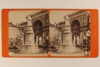 Italia Milan Monumento Leonardo Da Vinci c1875 Foto Stereo Vintage Albumina