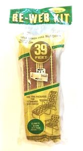 """NOS NEW Wellington Re-Web Kit 39' Brown Yellow Black Stripe 3"""" Wide Chair Chaise"""