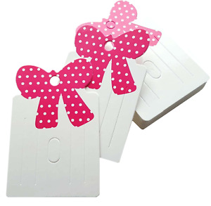 Jewellery Display Cards Brooch Barrette Hair Clip ~ White Pink Bow 8cm x 5cm