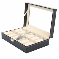 12 Grids Leather Watch Case Jewelry Collection Storage Holder Glass Display Box