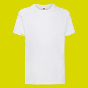 Plain Kids T-shirt fruit of the loom Girls Boys school tshirts Sports  PE Tshirt