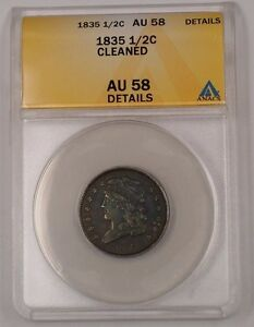 1835 United States Classic Head Half Cent 1/2c Coin ANACS AU-58 Details Cleaned