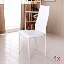 4x White Modern High Back Faux Leather Foam Dining Chairs Metal Legs Diningroom