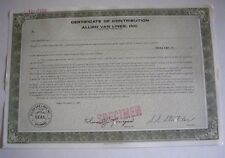 Allied Van Lines, Inc. Certificate Of Contribution, Specimen Copy Dated 12-31-69