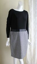 NWT Ralph Lauren -Sz 14 L/S Black Houndstooth Knit L/S Knit Straight Full Dress