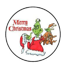 "48 Merry Christmas Grinch!!!  ENVELOPE SEALS LABELS STICKERS 1.2"" ROUND"