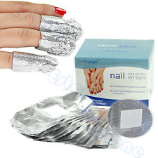 50PC Aluminium Foil Nail Wraps For Nail Art Soak Off Acrylic UV Gel Remover New