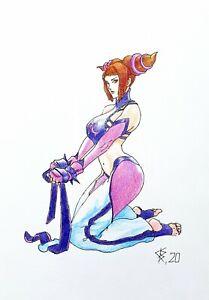 Fan art,original drawing color pencils,fantasyart,Street Fighter,Juri Han