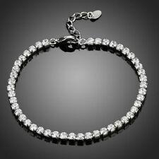 18K Gold GP Made With Swarovski Crystal Elements Brilliant Bead Bangle Bracelet