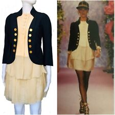 Christian Lacroix Haute Couture Spring 1994 jacket top skirt navy beige vintage