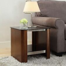Jual Furnishings JF312 Melbourne Chrome Lamp / Side / End Table In Real Walnut