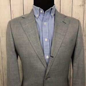 Brooks Brothers 38R Blue Linen / Silk / Wool Blend 2-Button Sports Coat