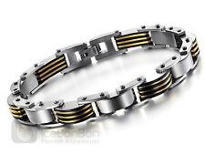 Men's Trendy Design Stainless Steel and Gold Tone Bracelet Bangle - USA Seller