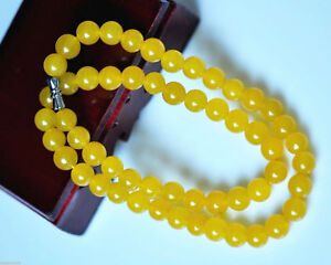 Hot China Natural jade hand-carved yellow round bead necklace 6mm 8MM 10mm