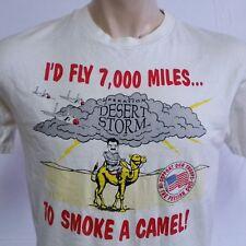 VTG 90s Gulf War T Shirt Desert Storm Camel Tee Saddam Hussein Gun Army Navy XL