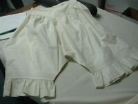 ANTIQUE VICTORIAN IVORY PURE LINEN LADIES BLOOMERS PETTICOAT w RUFFLE LEGS 25""
