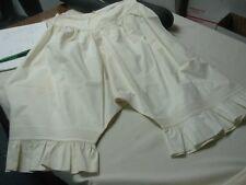 "Antique Victorian Ivory Pure Linen Ladies Bloomers Petticoat w Ruffle Legs 25"""