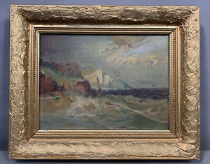 Antique POST IMPRESSIONIST Old ROCKY SHORE Waves SEASCAPE Oil BEACH PAINTING