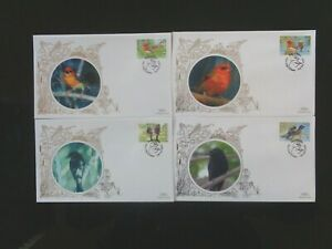 SEYCHELLES 2008 BIRDS 4v ON 4 x BENHAM SILK FIRST DAY COVERS SG961/964 VGC