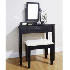 Dressing Table Shaker Style Makeup Desk Console Set Stool Bedroom Black Colour