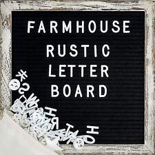 Farmhouse Wall Decor Felt Letter Board - 10x10 Inch Rustic Wood Frame, Black ...