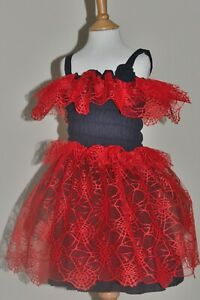 """Black/Red Party Dress Size 3-6yrs, Elasticated 24""""-28"""" Chest, Spider Web Fabric"""