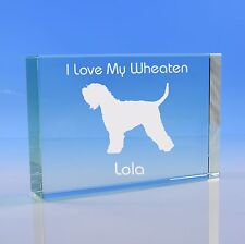 More details for soft coated wheaten terrier dog gift personalised engraved glass paperweight