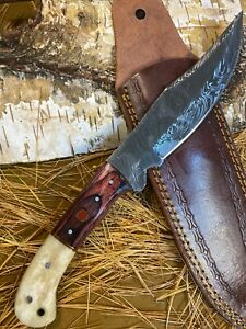 LOUIS MARTIN RARE FIXED BLADE CUSTOM HANDMADE DAMASCUS FULL TANG HUNTING KNIFE