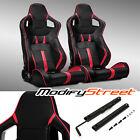 2 X Blackred Strip Pvc Leather Leftright Sport Racing Bucket Seats Slider