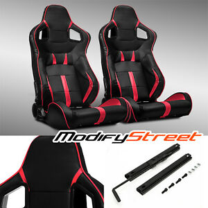 2 x BLACK/RED STRIP PVC LEATHER LEFT/RIGHT SPORT RACING BUCKET SEATS + SLIDER