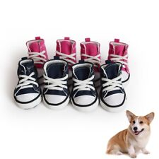 4pcs Pet Dog Boots Puppy Denim Sports Anti-slip Shoes Sneakers For Small Dogs