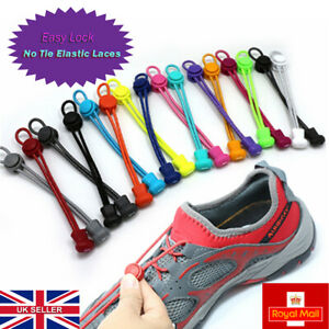 Easy Lock No Tie Elastic Lazy Shoelaces Runner Kids Adults Trainers All shoes UK
