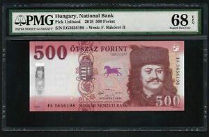 Hungary 2018 - 500 Forint PMG Superb Gem UNC 68 EPQ - TOP POP