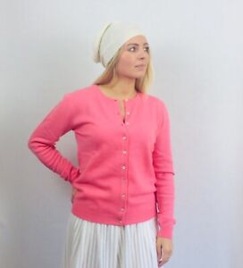 100%  Cashmere Cardigan Vast Land Pink BNWT Size 14 16 Warm Soft Present Luxury